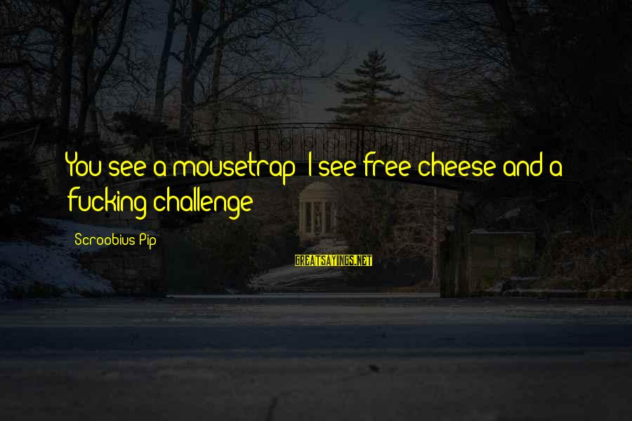 Pip Sayings By Scroobius Pip: You see a mousetrap; I see free cheese and a fucking challenge!