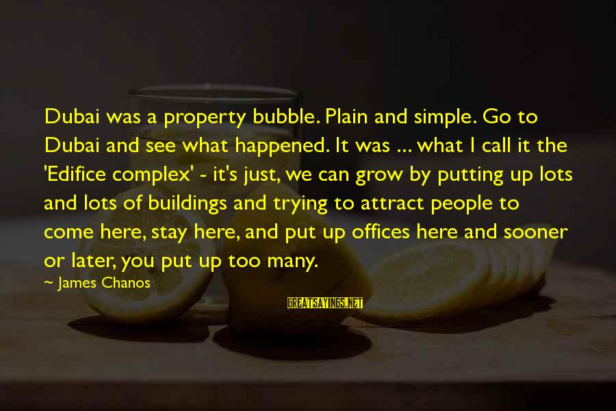 Plain And Simple Sayings By James Chanos: Dubai was a property bubble. Plain and simple. Go to Dubai and see what happened.