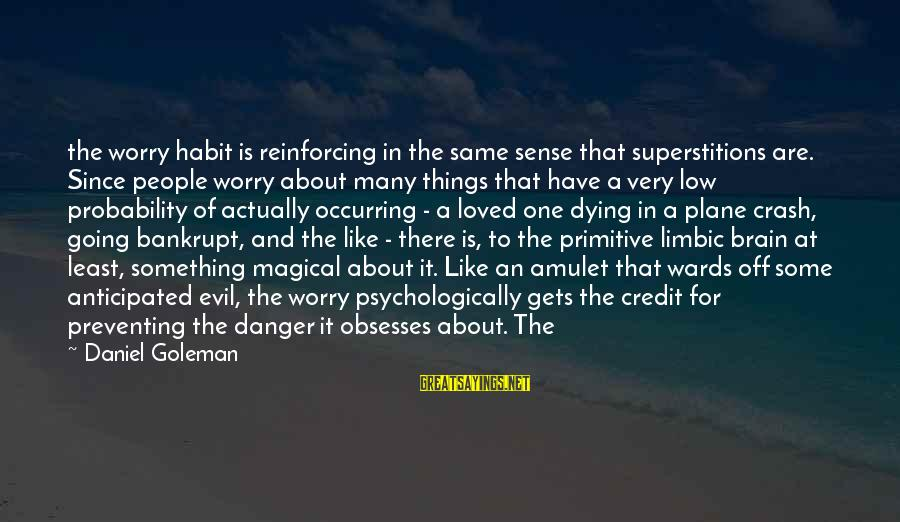 Plane Crash Sayings By Daniel Goleman: the worry habit is reinforcing in the same sense that superstitions are. Since people worry