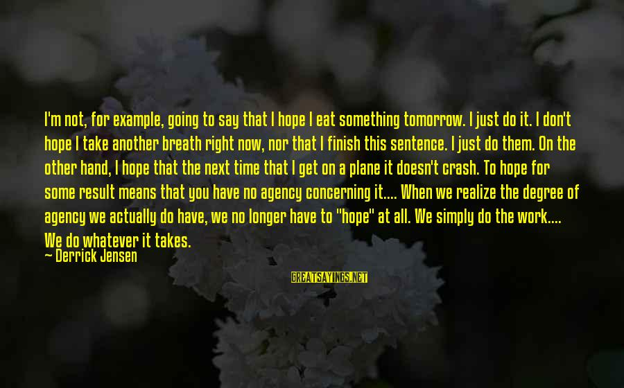 Plane Crash Sayings By Derrick Jensen: I'm not, for example, going to say that I hope I eat something tomorrow. I