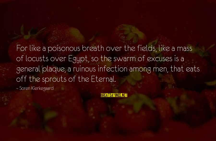 Plaque Sayings By Soren Kierkegaard: For like a poisonous breath over the fields, like a mass of locusts over Egypt,