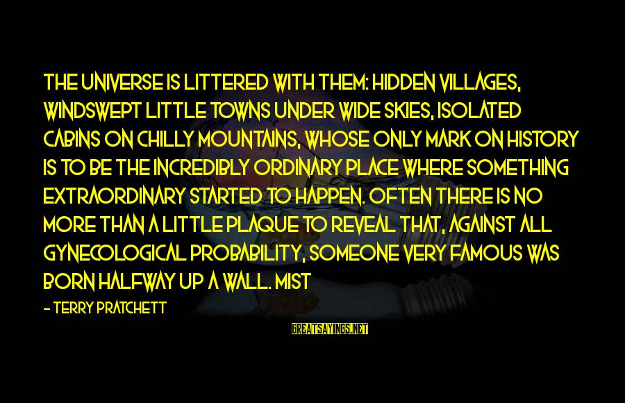 Plaque Sayings By Terry Pratchett: The universe is littered with them: hidden villages, windswept little towns under wide skies, isolated