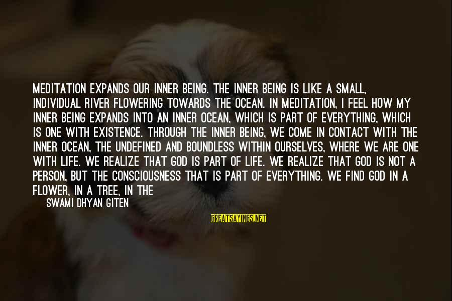 Playful Life Sayings By Swami Dhyan Giten: Meditation expands our inner being. The inner being is like a small, individual river flowering