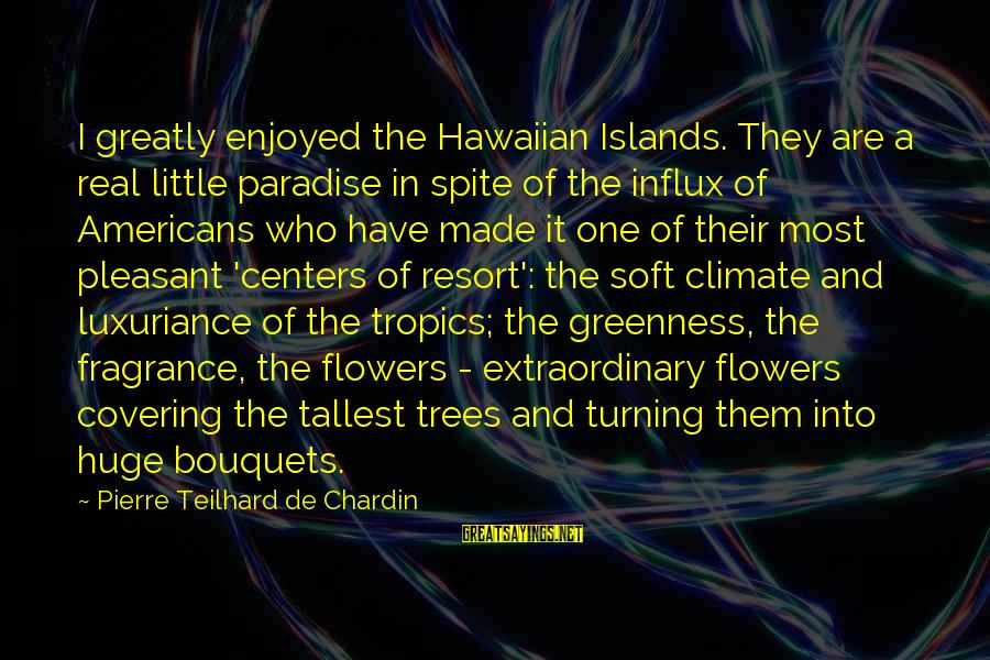 Pleasant Climate Sayings By Pierre Teilhard De Chardin: I greatly enjoyed the Hawaiian Islands. They are a real little paradise in spite of