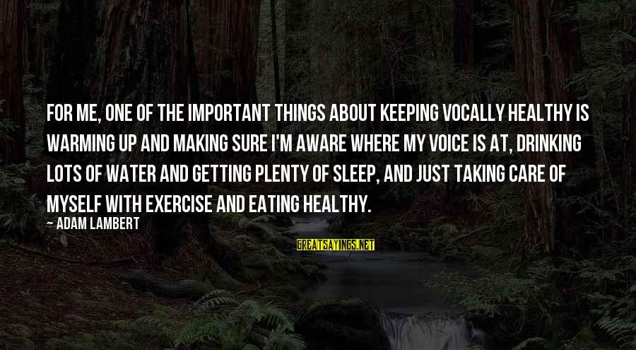 Plenty Of Sleep Sayings By Adam Lambert: For me, one of the important things about keeping vocally healthy is warming up and