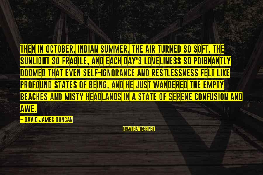 Poignantly Sayings By David James Duncan: Then in October, Indian Summer, the air turned so soft, the sunlight so fragile, and