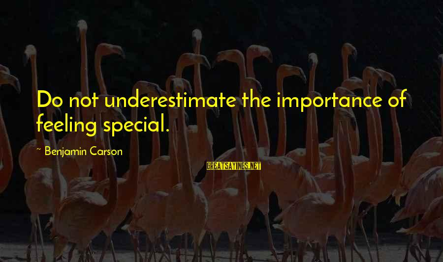 Police Academy Famous Sayings By Benjamin Carson: Do not underestimate the importance of feeling special.