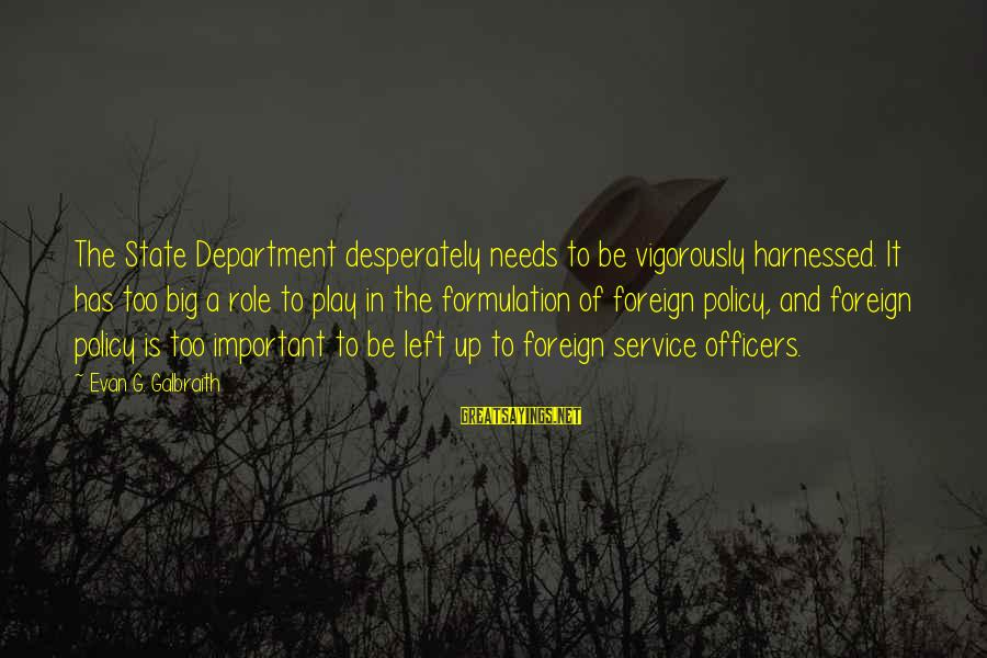 Policy Formulation Sayings By Evan G. Galbraith: The State Department desperately needs to be vigorously harnessed. It has too big a role