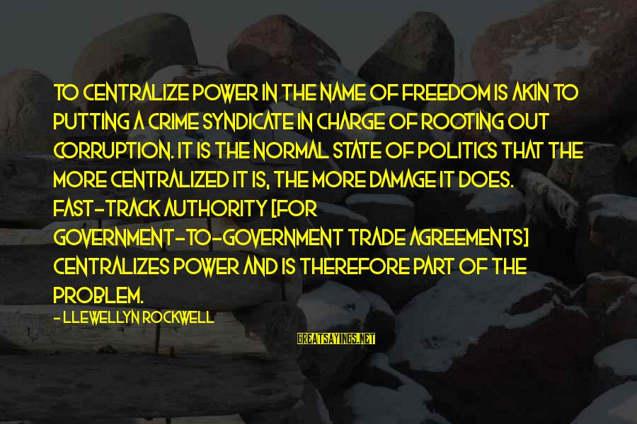 Politics And Corruption Sayings By Llewellyn Rockwell: To centralize power in the name of freedom is akin to putting a crime syndicate