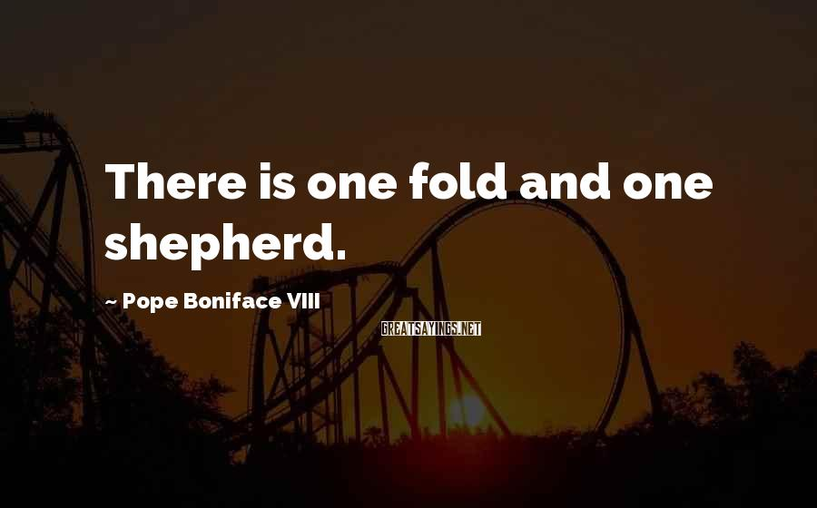 Pope Boniface VIII Sayings: There is one fold and one shepherd.