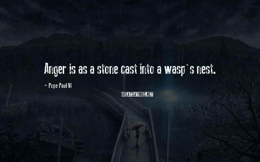 Pope Paul VI Sayings: Anger is as a stone cast into a wasp's nest.
