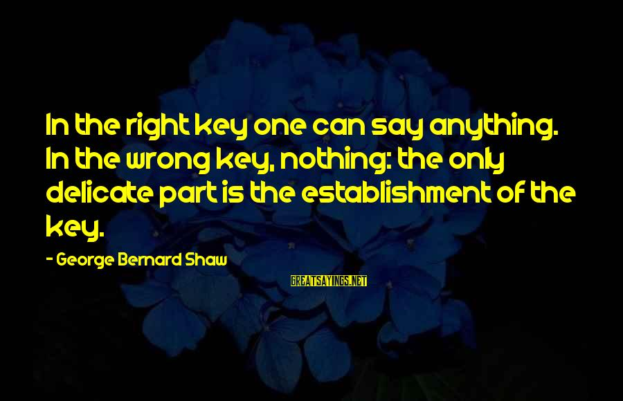 Positive Declaration Sayings By George Bernard Shaw: In the right key one can say anything. In the wrong key, nothing: the only