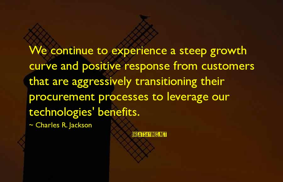 Positive Technology Sayings By Charles R. Jackson: We continue to experience a steep growth curve and positive response from customers that are