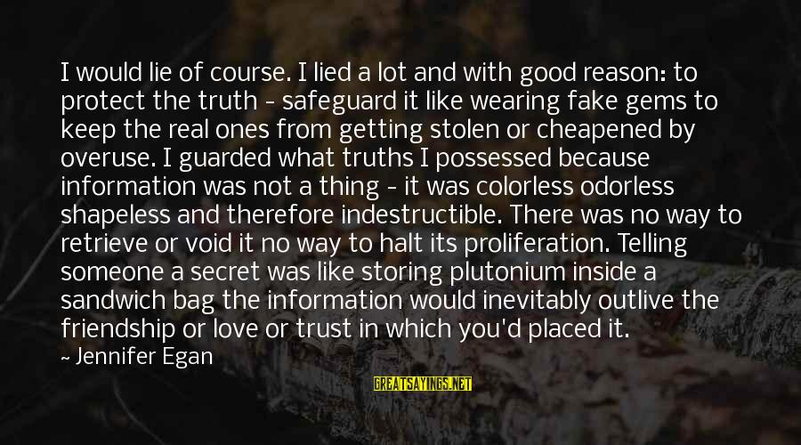 Possessed Love Sayings By Jennifer Egan: I would lie of course. I lied a lot and with good reason: to protect