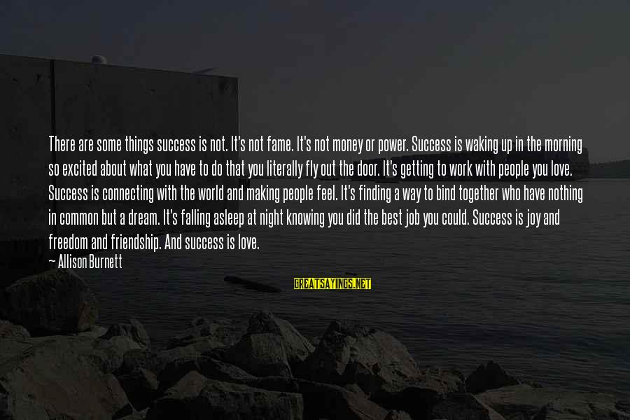 Power And Friendship Sayings By Allison Burnett: There are some things success is not. It's not fame. It's not money or power.