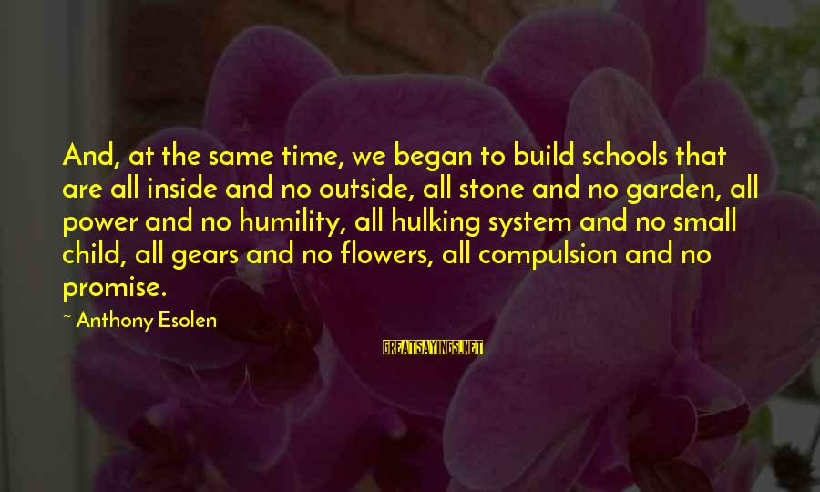 Power And Humility Sayings By Anthony Esolen: And, at the same time, we began to build schools that are all inside and