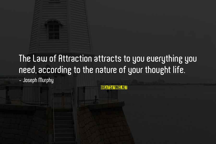 Power Of Attraction Sayings By Joseph Murphy: The Law of Attraction attracts to you everything you need, according to the nature of