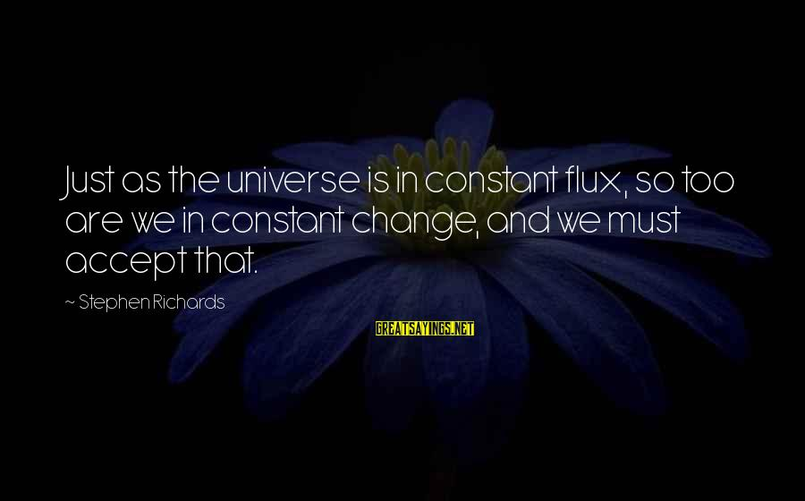 Power Of Attraction Sayings By Stephen Richards: Just as the universe is in constant flux, so too are we in constant change,
