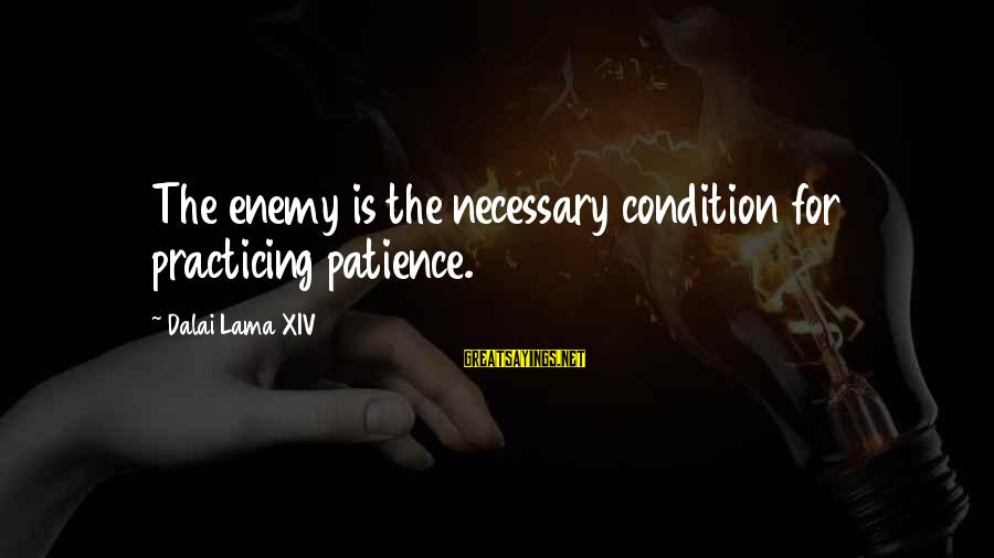 Practicing Patience Sayings By Dalai Lama XIV: The enemy is the necessary condition for practicing patience.