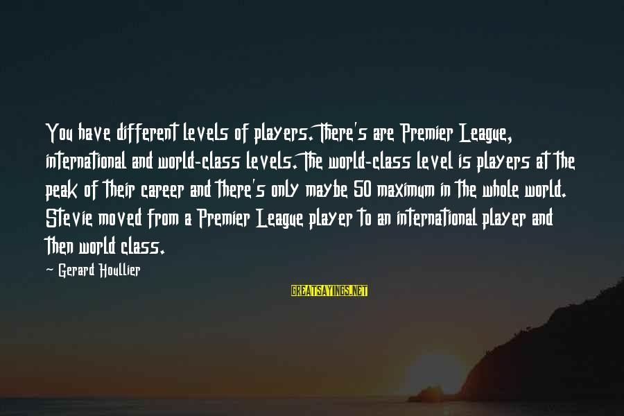 Premier League Sayings By Gerard Houllier: You have different levels of players. There's are Premier League, international and world-class levels. The