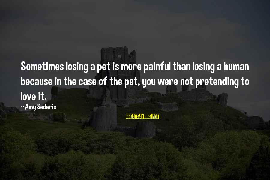 Pretending Love Sayings By Amy Sedaris: Sometimes losing a pet is more painful than losing a human because in the case