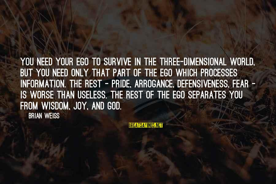 Pride And Fear Sayings By Brian Weiss: You need your ego to survive in the three-dimensional world, but you need only that