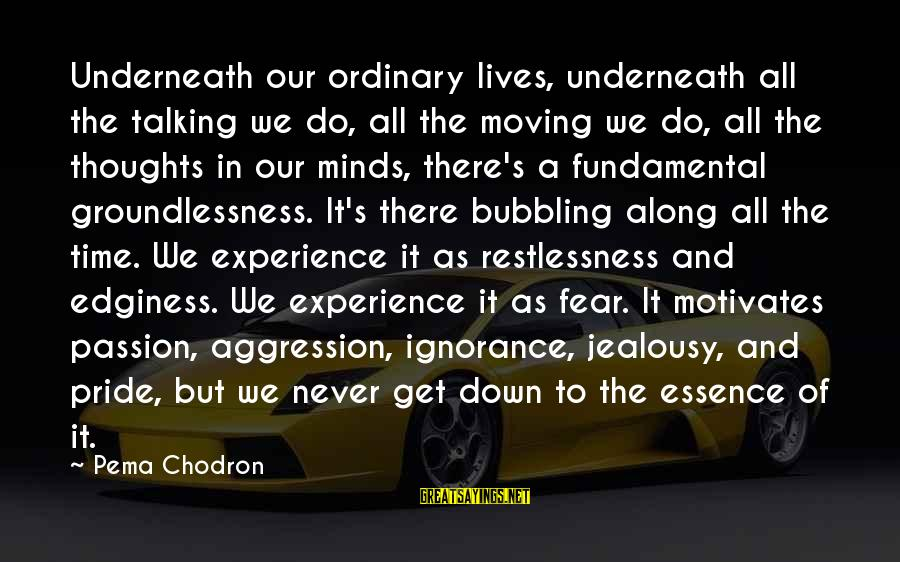 Pride And Fear Sayings By Pema Chodron: Underneath our ordinary lives, underneath all the talking we do, all the moving we do,
