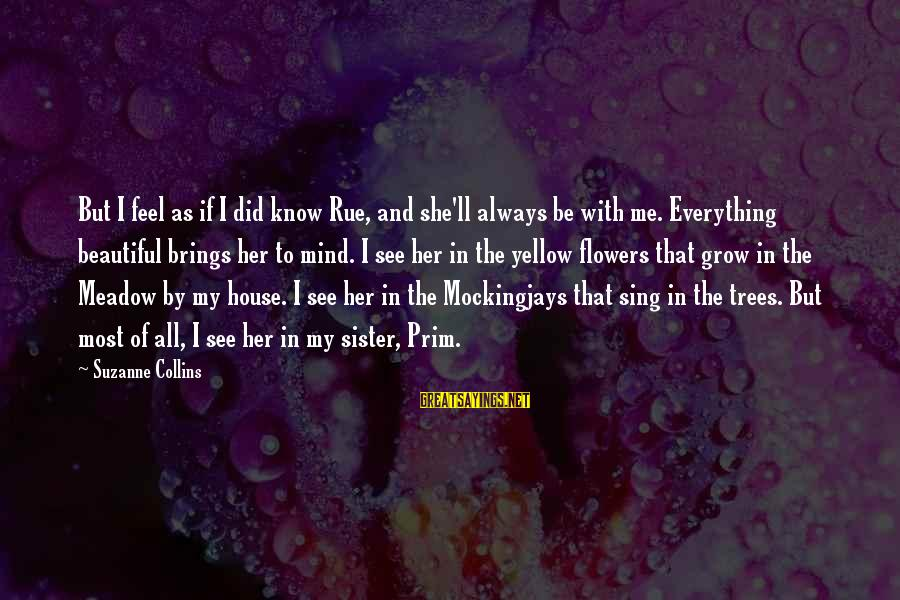 Prim Sayings By Suzanne Collins: But I feel as if I did know Rue, and she'll always be with me.