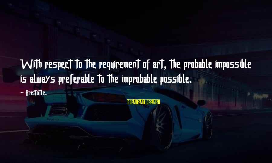 Probabilities Sayings By Aristotle.: With respect to the requirement of art, the probable impossible is always preferable to the