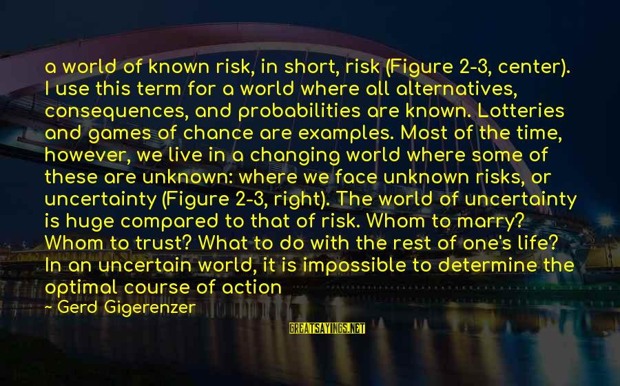 Probabilities Sayings By Gerd Gigerenzer: a world of known risk, in short, risk (Figure 2-3, center). I use this term