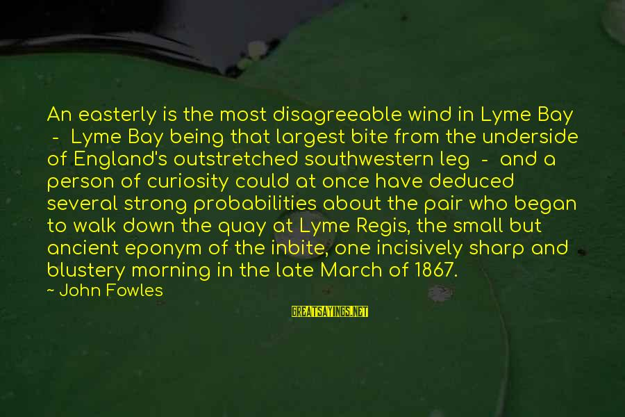 Probabilities Sayings By John Fowles: An easterly is the most disagreeable wind in Lyme Bay - Lyme Bay being that