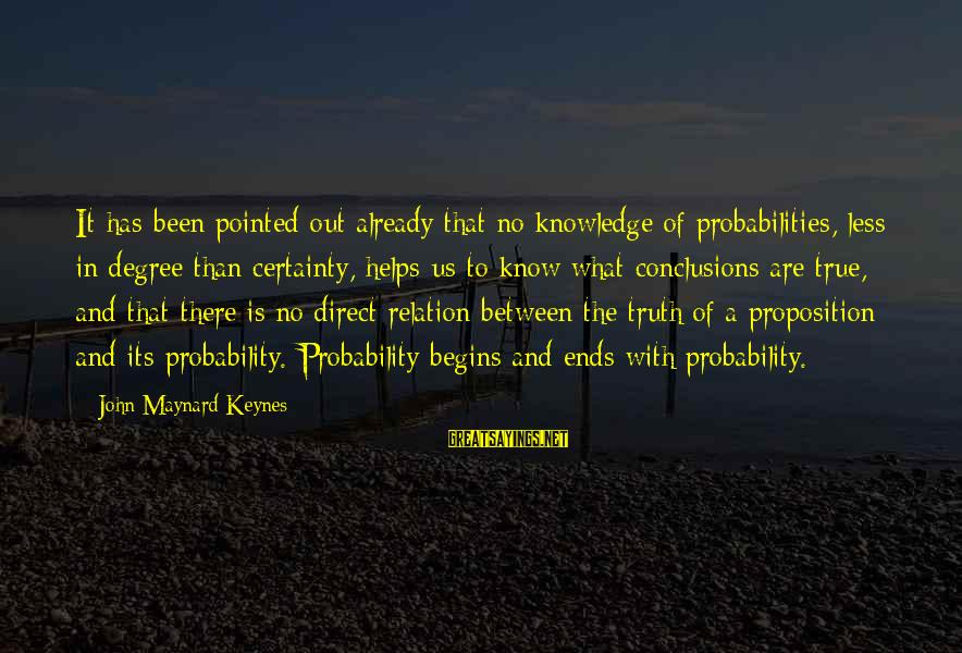 Probabilities Sayings By John Maynard Keynes: It has been pointed out already that no knowledge of probabilities, less in degree than