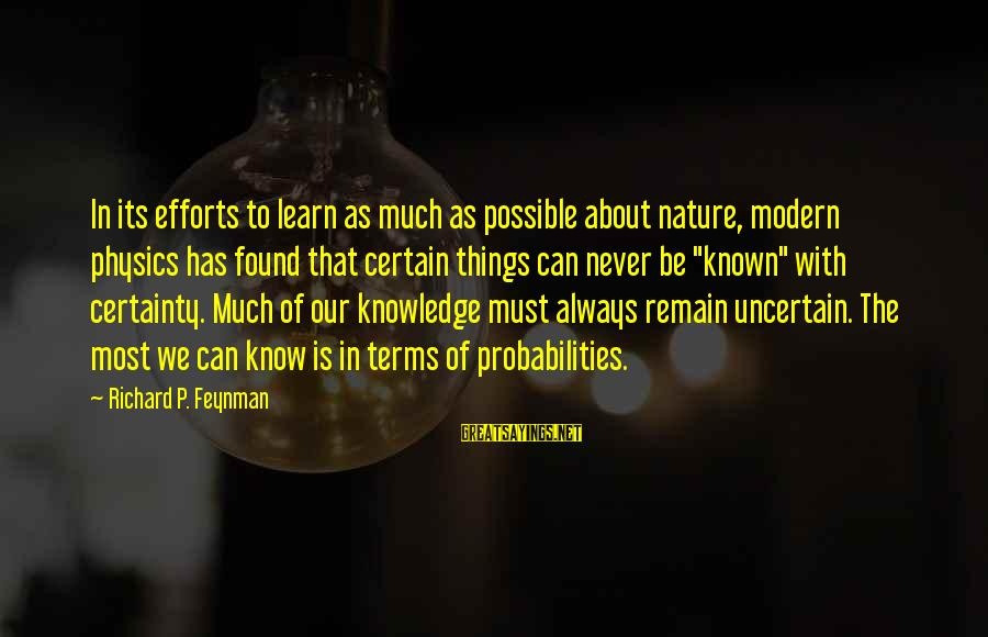Probabilities Sayings By Richard P. Feynman: In its efforts to learn as much as possible about nature, modern physics has found