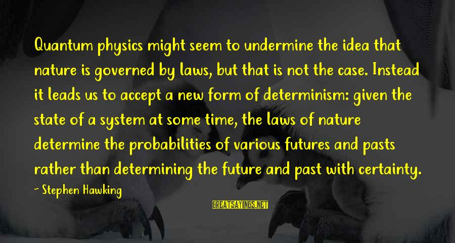 Probabilities Sayings By Stephen Hawking: Quantum physics might seem to undermine the idea that nature is governed by laws, but