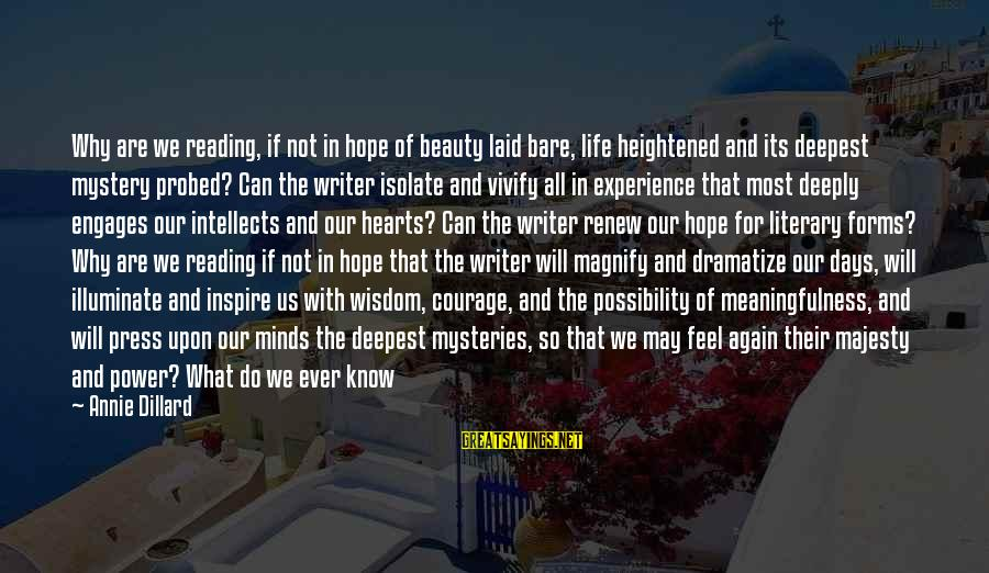 Probed Sayings By Annie Dillard: Why are we reading, if not in hope of beauty laid bare, life heightened and