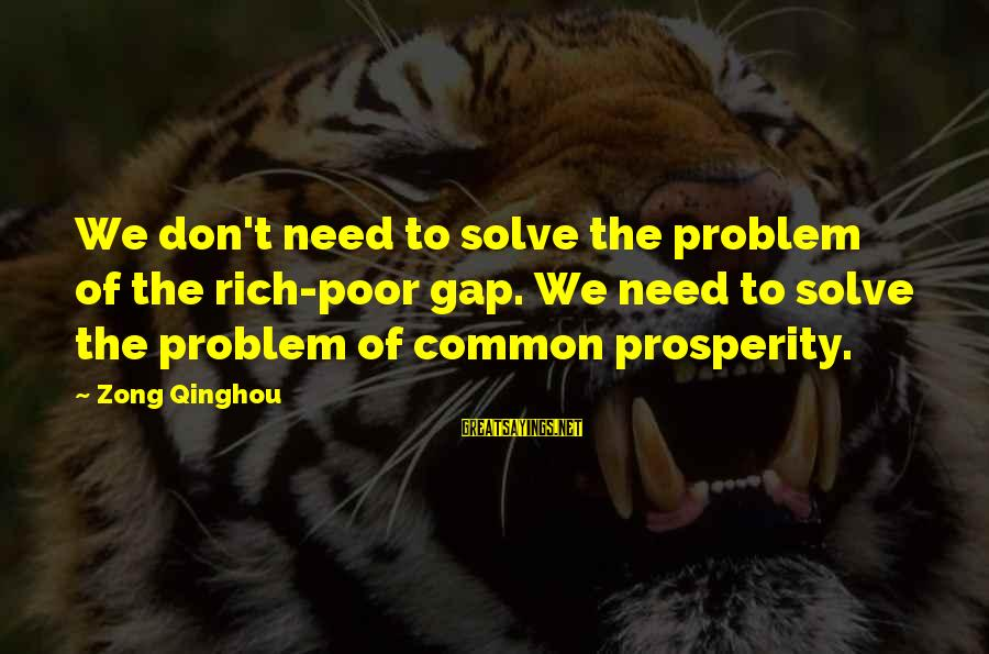 Problem Solve Sayings By Zong Qinghou: We don't need to solve the problem of the rich-poor gap. We need to solve