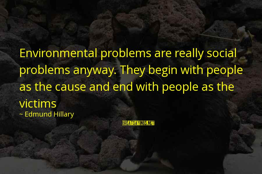 Problems With Family Sayings By Edmund Hillary: Environmental problems are really social problems anyway. They begin with people as the cause and
