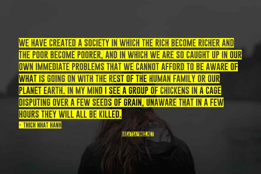 Problems With Family Sayings By Thich Nhat Hanh: We have created a society in which the rich become richer and the poor become
