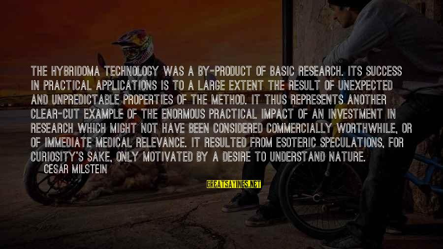 Product Success Sayings By Cesar Milstein: The hybridoma technology was a by-product of basic research. Its success in practical applications is