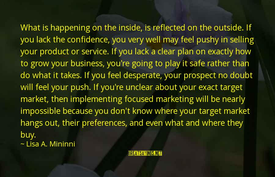 Product Success Sayings By Lisa A. Mininni: What is happening on the inside, is reflected on the outside. If you lack the