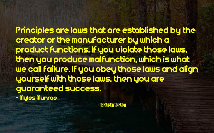 Product Success Sayings By Myles Munroe: Principles are laws that are established by the creator or the manufacturer by which a