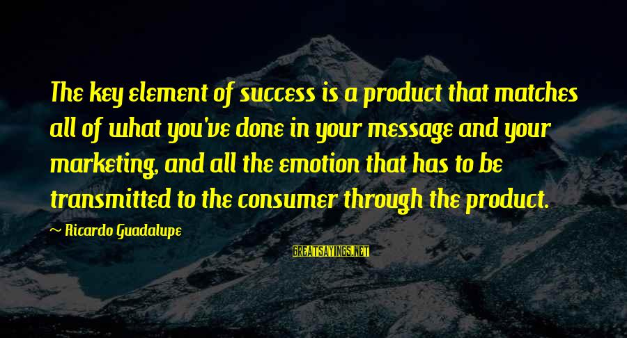 Product Success Sayings By Ricardo Guadalupe: The key element of success is a product that matches all of what you've done