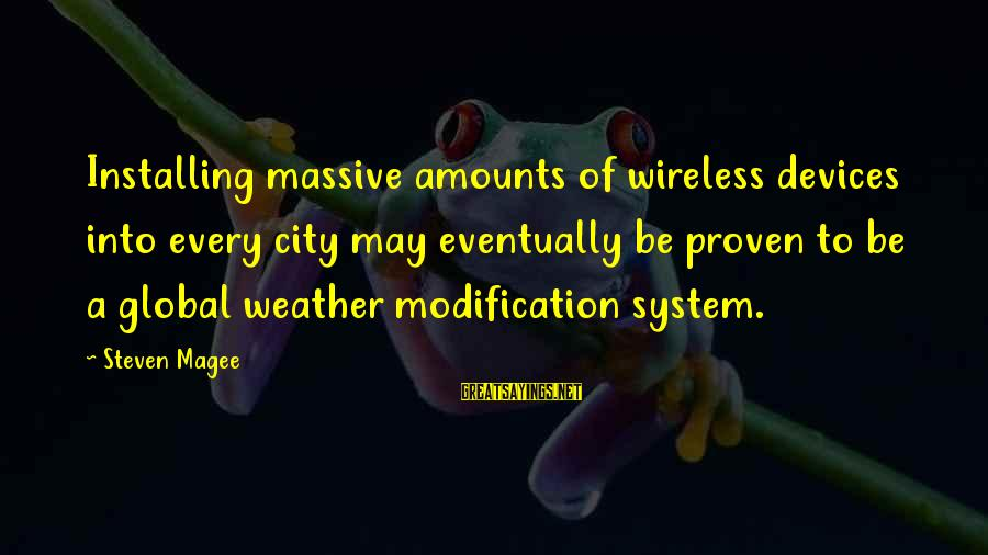 Proven System Sayings By Steven Magee: Installing massive amounts of wireless devices into every city may eventually be proven to be