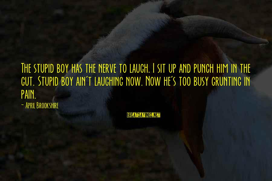 Punch In The Gut Sayings By April Brookshire: The stupid boy has the nerve to laugh. I sit up and punch him in