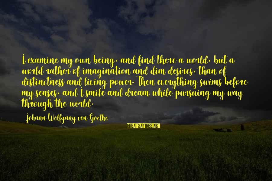 Pursuing A Dream Sayings By Johann Wolfgang Von Goethe: I examine my own being, and find there a world, but a world rather of