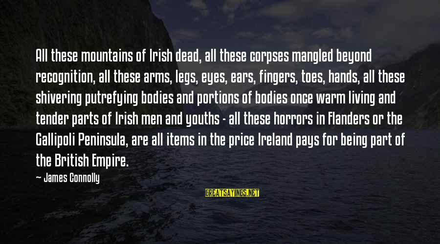 Putrefying Sayings By James Connolly: All these mountains of Irish dead, all these corpses mangled beyond recognition, all these arms,