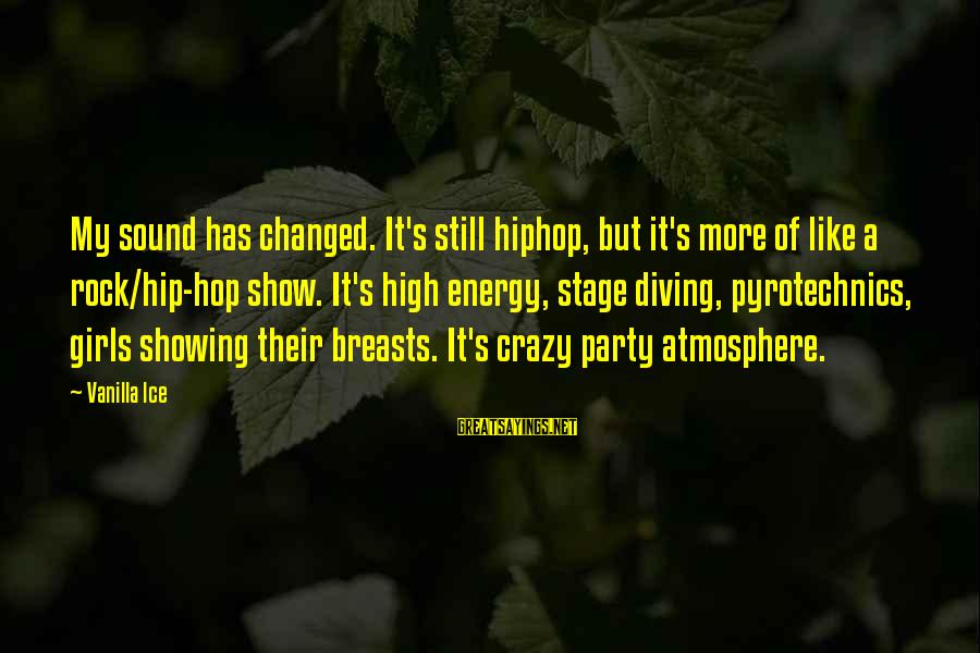 Pyrotechnics Sayings By Vanilla Ice: My sound has changed. It's still hiphop, but it's more of like a rock/hip-hop show.
