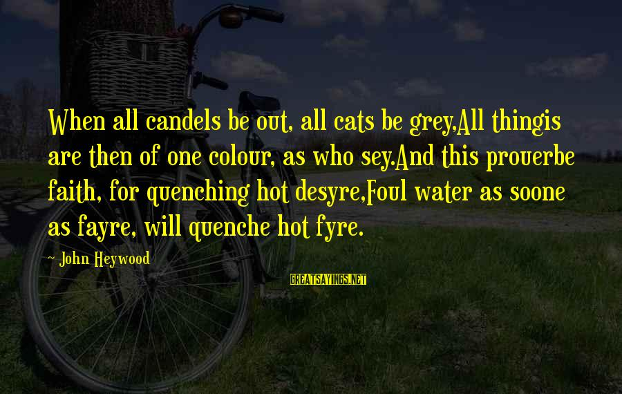 Quenching Sayings By John Heywood: When all candels be out, all cats be grey,All thingis are then of one colour,