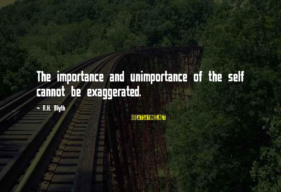 R. H. Blyth Sayings By R.H. Blyth: The importance and unimportance of the self cannot be exaggerated.