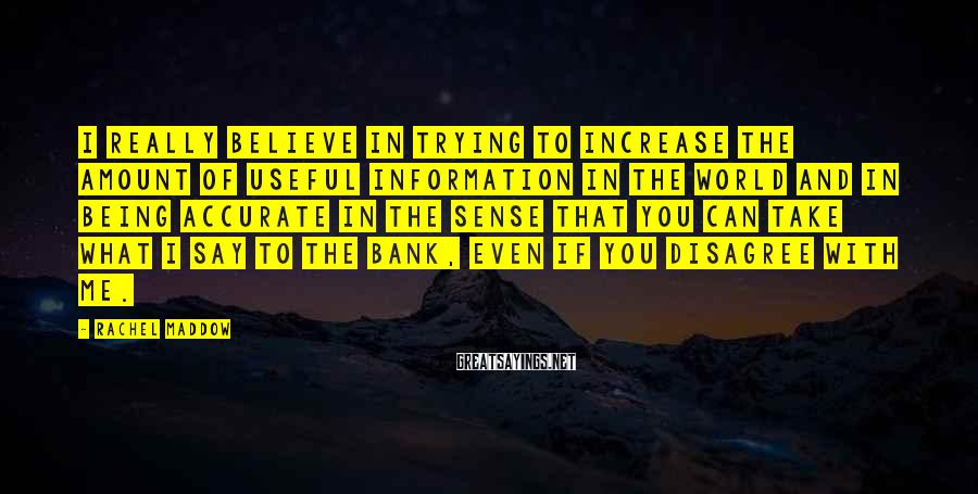 Rachel Maddow Sayings: I really believe in trying to increase the amount of useful information in the world